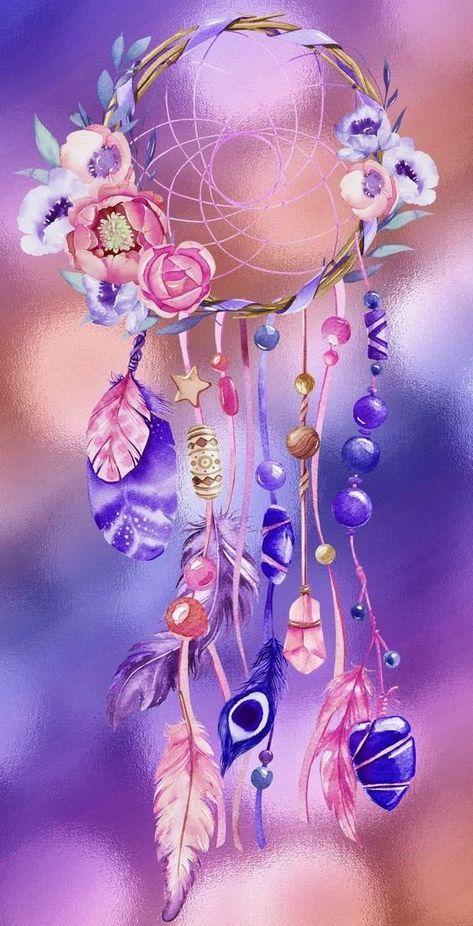 Dreamcatcher Blumen Hintergrund Iphone Blumentapete Traumfanger Kunst
