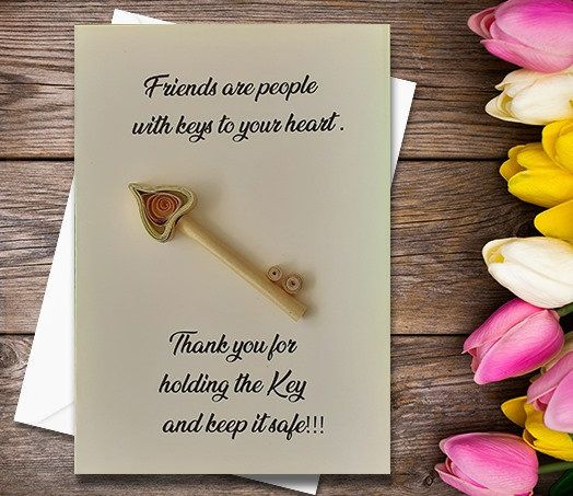 Thanking Card Keys Quilling Greeting Card Handmade Greeting Card Friend Card Friendship Card Greeting Cards Handmade Handmade Greetings Cards For Friends