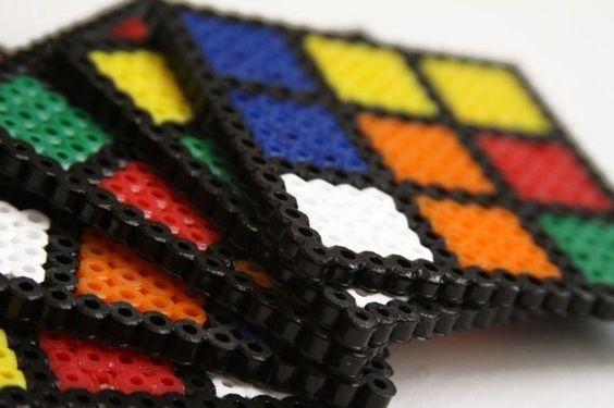 Rubik's Cube Perler Bead Coasters.