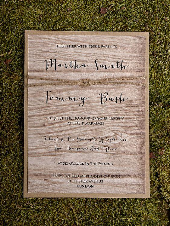 Rustikale Hochzeitseinladung Hochzeitseinladung von 4LOVEPolkaDots, $4.50