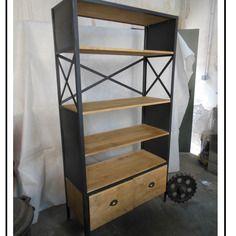 meuble industriel biblioth que sur mesure croisix 3 m tal et bois esprit loft industriel acier. Black Bedroom Furniture Sets. Home Design Ideas