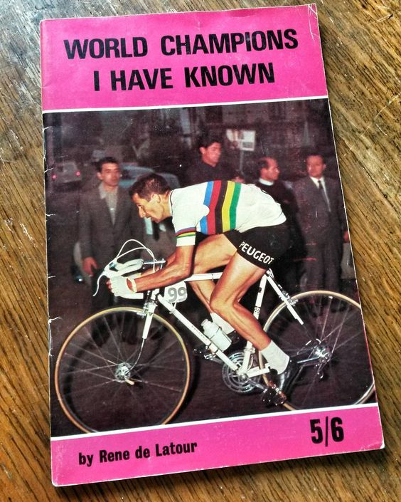World Champions I Have Known booklet written by Rene de Latour. The riders featured are Rik van Looy, Reg Harris, Fausto Coppi, Lucien Michard, Jeff Scherens, Bill Bailey, Louison Bobet, Tom Simpson,  Alfredo Binda, Victor Linart, Bob Spears, Ferdi Kubler and Rik van Steenbergen. Tommy Simpson on the cover. Published by Kennedy Brothers in 1970. #cyclingliterature #cyclingbooks #cyclepassion #bicyclehistory #cycleracing #bicycleracing #tourdefrance #giro #cyclingmonuments #onedayclassics