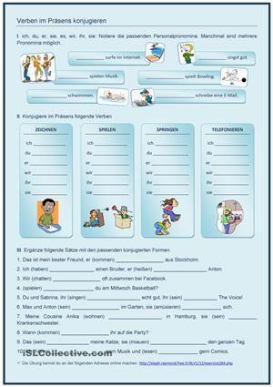 Ein AB zur Übung der Personalpronomina und der Konjugation im Präsens. Für Anfänger - DaF Arbeitsblätter