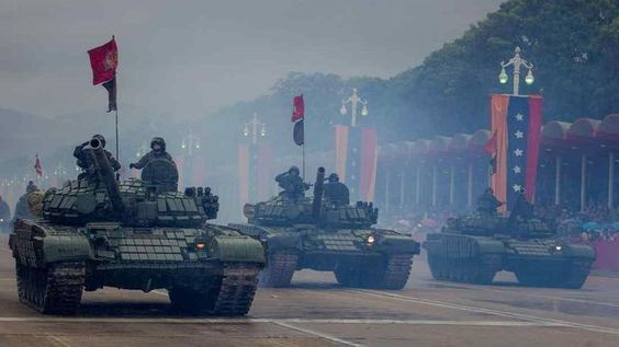 T-72B1V Venezuelan army at the military parade in honor of independence day of Venezuela. Caracas, 05.07.2017.
