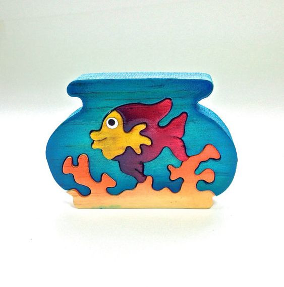 Fish Bowl Wooden Animal Puzzle Handmade Decoration Toy