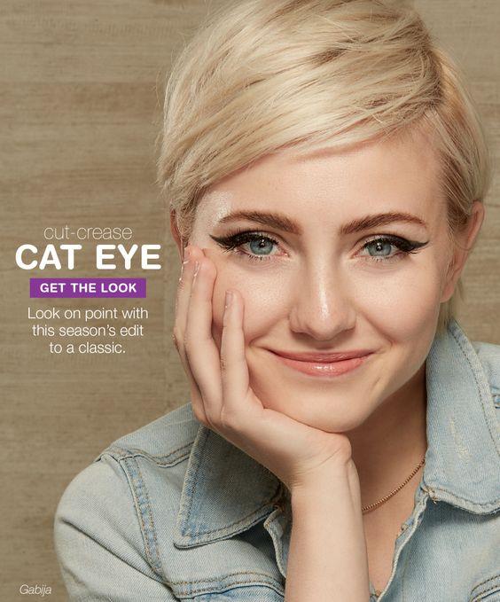 Cut-Crease Cat Eye Get the look: • L'Oréal Brow Stylist® Prep & Shape Pro Kit • L'Oréal Voluminous® Butterfly Sculpt • COVERGIRL Perfect Point Plus Liner