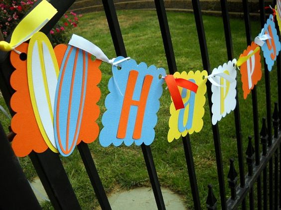Surfboard Happy Birthday Banner by 62Cards on Etsy, $29.95