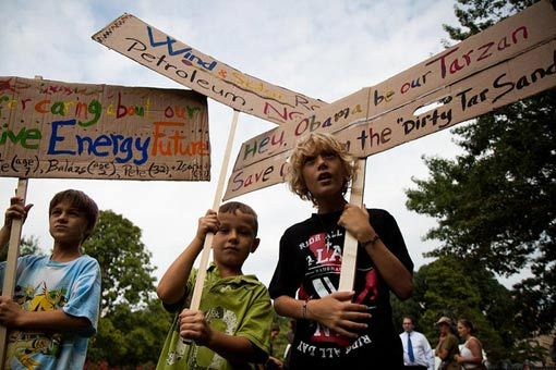 Keystone XL Pipeline protest.