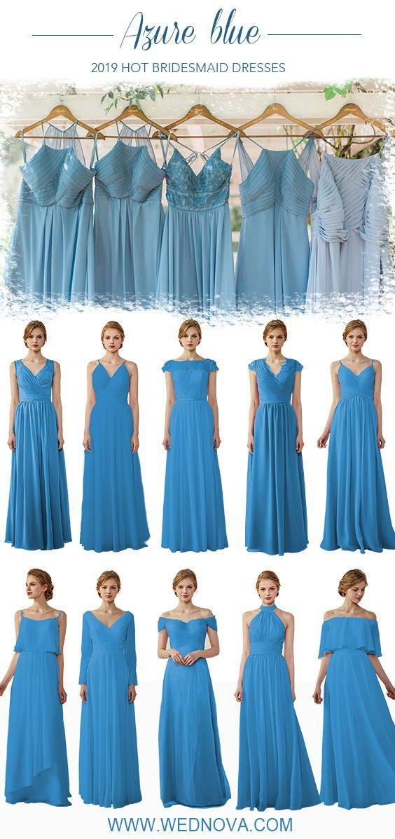Azure Blue Bridesmaid Dress Off Shoulder Chiffon Dress V Neck Dress Ch Bridesmaid Dresses Long Blue Elegant Bridesmaid Dresses Wedding Bridesmaids Dresses Blue