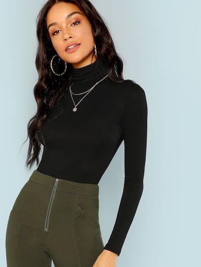 8b4fec8f4847 Shop Turtleneck Slim Fit T-shirt online. SHEIN offers Turtleneck Slim Fit T- shirt   more to fit your fashionable needs.