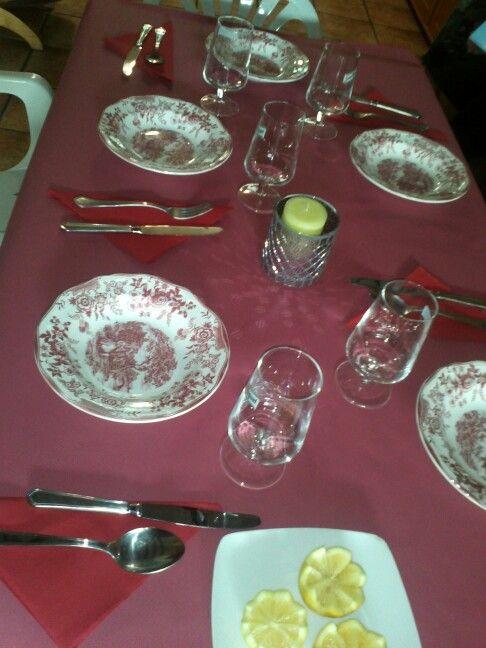 Mesa preparada para la paella!
