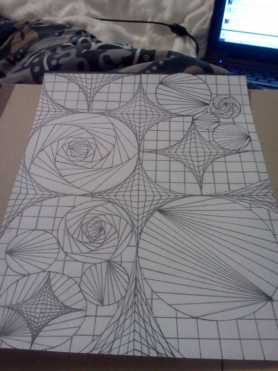 Op Art Sketch Finalized In Sharpie Outline They Make