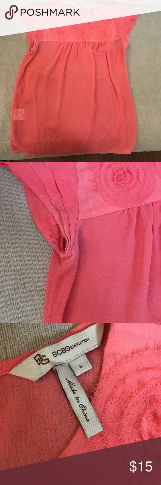 BCBGeneration top Shear top, well used with some wear at arms (see pics) but overall in good condition. 100% polyester. Blush color. BCBGeneration Tops Blouses