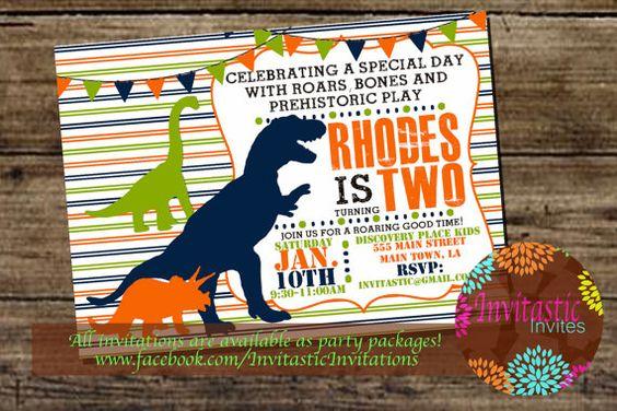 Dinosaur Birthday Invitation, Dino, T-Rex, Brontosaurus, Triceratops Birthday, Dinosaur theme printable birthday party invitation