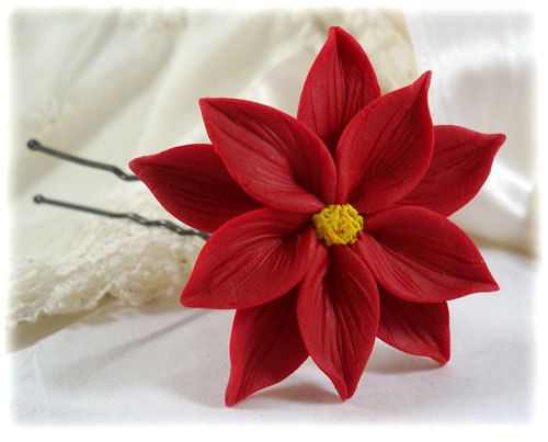 Hey, I found this really awesome Etsy listing at https://www.etsy.com/listing/185966413/red-poinsettia-hair-pin-poinsettia-hair