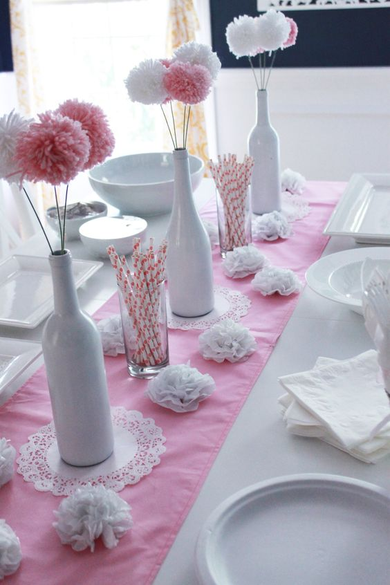 Flower Centerpiece Ideas For Baptism : Diy baby shower ideas for girls pom flowers the