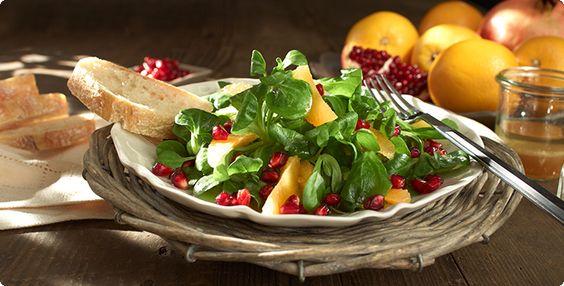 Rezept: Orangen-Feldsalat mit Granatapfel