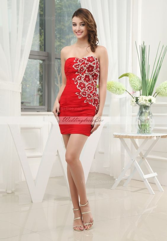 Ruffle chiffon short dress with equisite appliques-two tone $179.99 Cocktail Dress