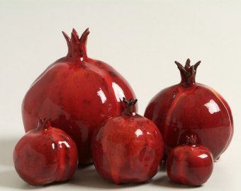 CLAY POMEGRANATE Figurine, Home Decor,  Israeli Art