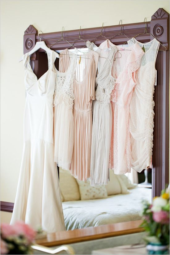 I love the idea of different bridesmaids dresses for each girl but all in the same color scheme
