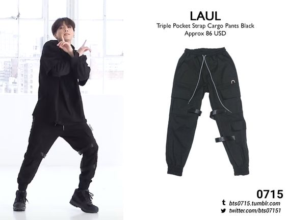 (Requested) 190421 | Jungkook : Boy With Luv Dance Practice LAUL - Triple pocket strap cargo pants black // (x)