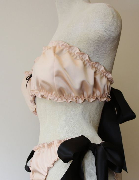 Pink ruffle satin set with bows by amourouse on Etsy, $80.00