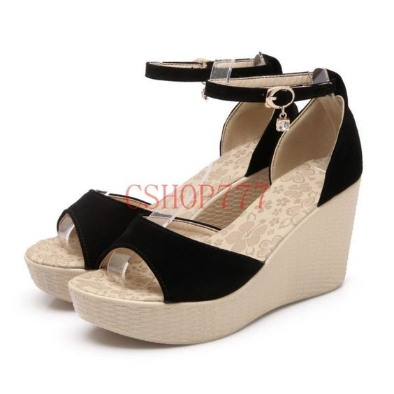 Fashion Womens Suede Ankle Strap Open Toe High Wedge Heel Sandals Shoees 10