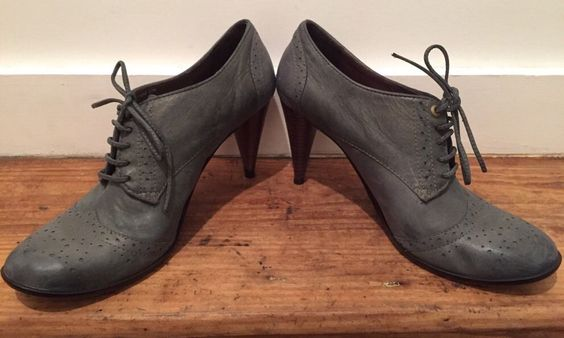 Anthropologie Bernardo Blue ish Gray Oxford Heels Shoes Leather Brazil US Sz 10 | eBay