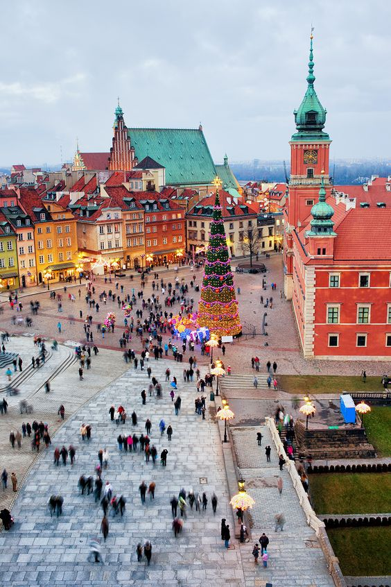 Castle Square in the Old Town of Warsaw, Poland during the holidays