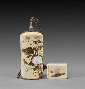 Japanese Lacquered Inro w/ Netsuke, Meiji period
