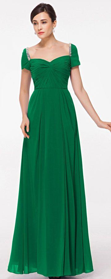 Emerald green evening dress with sleeves plus size formal dresses Abendkleider Brautjungfernkleider