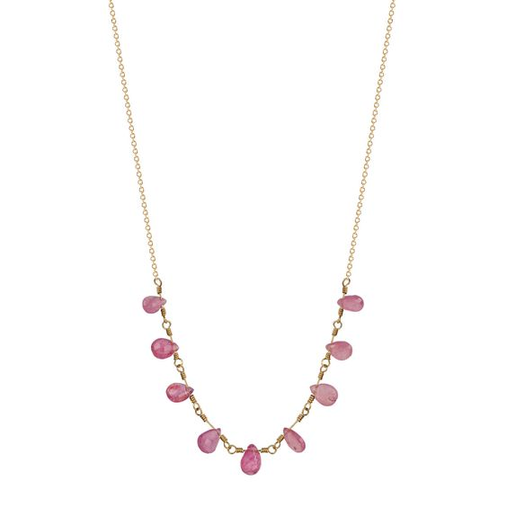 18K Gold 9 Teardrop Pink Sapphire Necklace