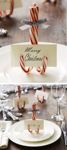 DIY Custom Christmas Card Holders Made With Candy Canes #holiday #party #table…: