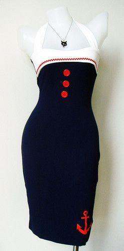 Sailor pencil vintage dress