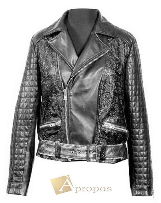 Lederjacke Damen Bikerjacke Leder Handarbeit Vintage Schwarz Apropos
