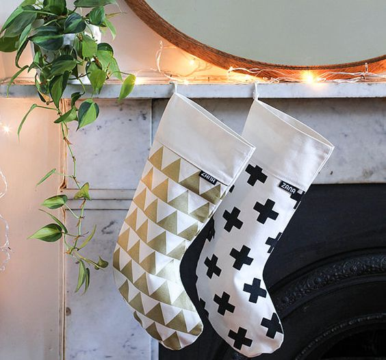 Modern Pattern Christmas Stocking - Gold Triangle or Swiss Cross
