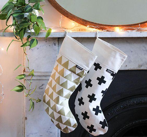 Modern Pattern Christmas Stocking - Gold Triangle or Swiss Cross