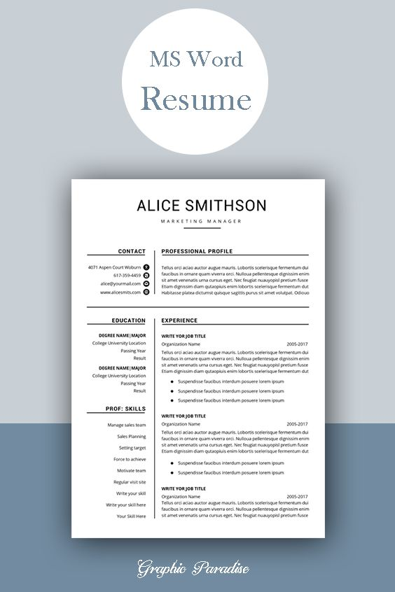 Resume Template Professional Resume Template Instant Etsy In
