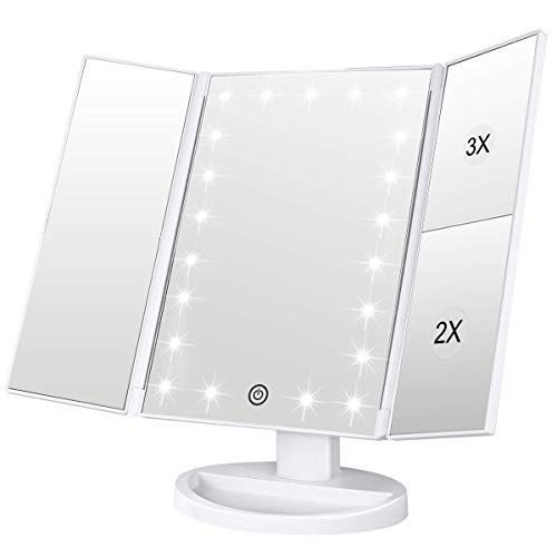 Lighted Makeup Mirror Tri Fold Vanity Mirror With 3x 2x 1x