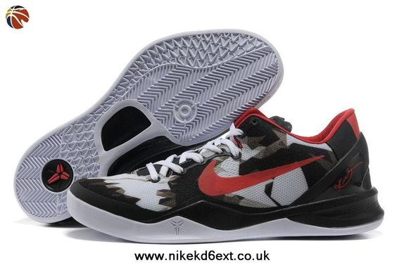 Nike Zoom Kobe 8 (VIII) White Black Red Style 555035-101 Factory Outlet