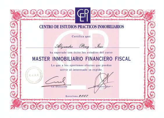 2007 Titulación Diploma ANPIFF Diplomaturas Titulaciones Homologaciones Inmobiliarias AlejandroPI Medico Mentor Agentes Inmobiliarios Alejandro Perez Irus