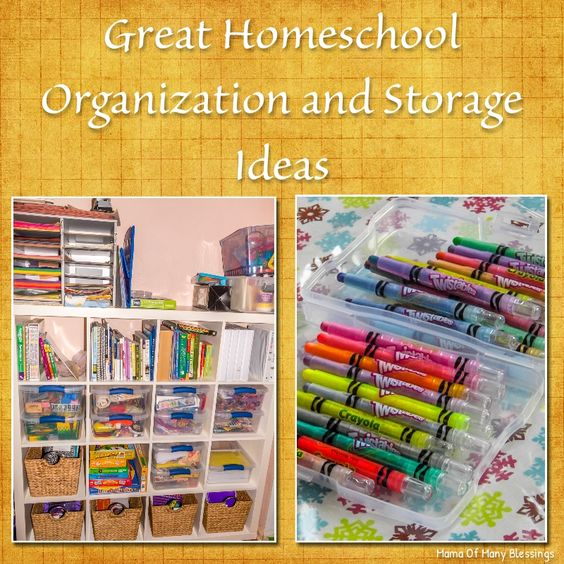 Take a look at our homeschool room. Also some great homeschool organization and storage ideas.