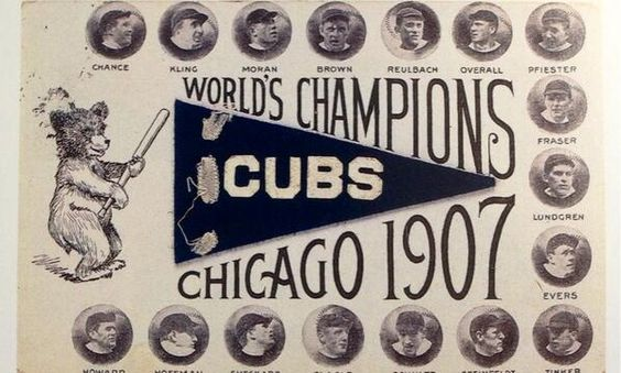 Postcard celebrating the 1907 World Series champs Chicago Cubs: