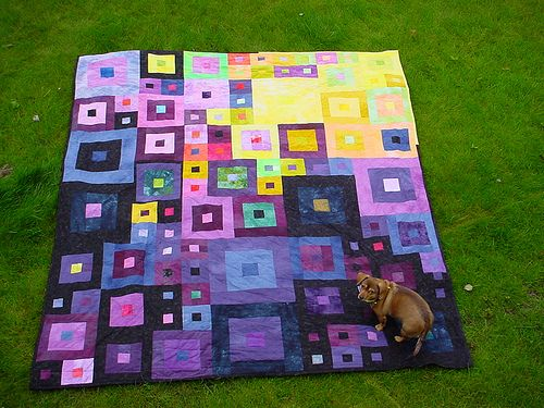 Wedding quilt, 2009, hand dyes and Ucongold's own pattern.