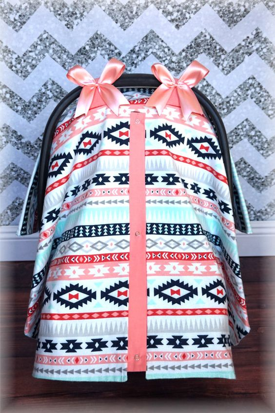 Coral & Teal TRIBAL AZTEC Polka Dot Navy Bows Carseat Canopy - The Canopy Shoppe, Baby Car Seat Cover, Infant Carrier