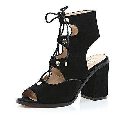 Black suede lace up block heel sandals £65 riverisland | Clothes