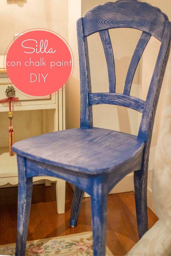 Silla con chalk paint ➜ solo necesitas dos colores de chalk pain ...