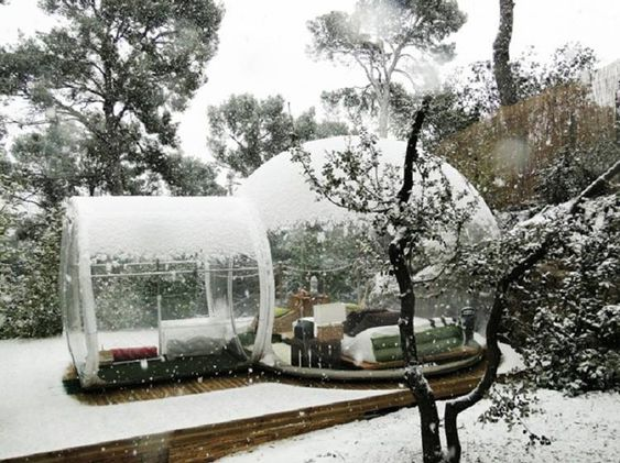 Sleep under the stars and with snow flakes falling gently around you with this one-of-a-kind Inflatable Clear Bubble Tent.