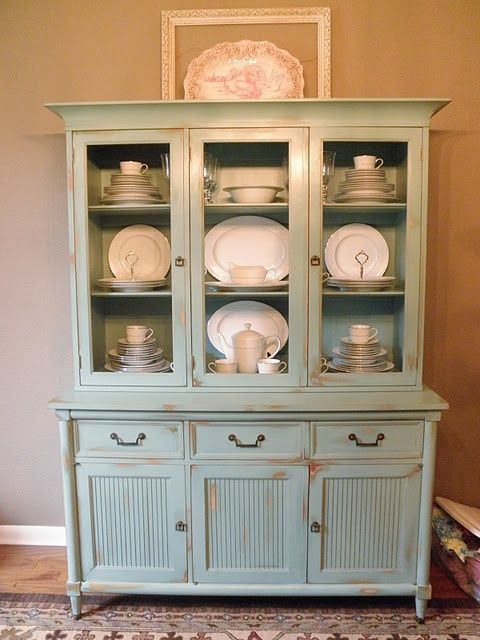 china hutch, love color -- fill with other items besides dishes
