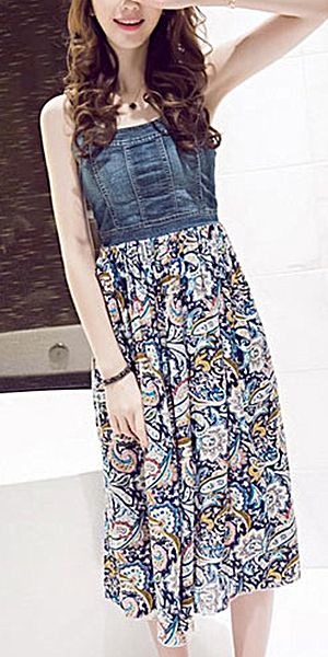 Bohemian Style Floral Print Chiffon Spliced Sling Denim Dress